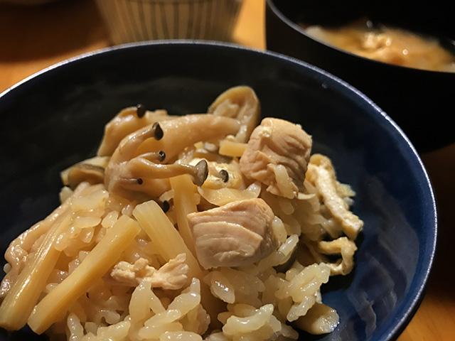 炊き込みご飯とカツオ
